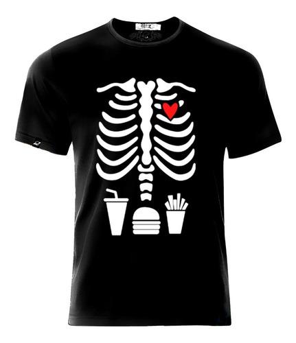 Imagen 1 de 5 de Playera Camiseta Esqueleto Cuerpo Papas Hamburguesa Y Soda