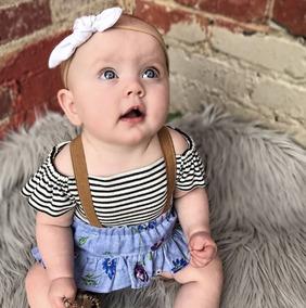 Roupa Conjunto Bebê Tipo Jardineira Floral Menina Importado