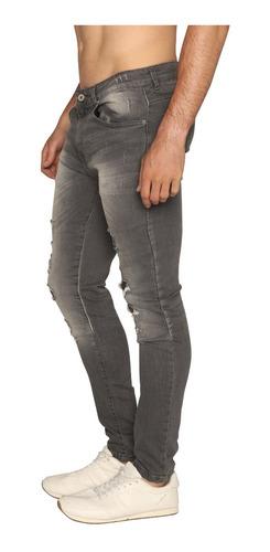 Pantalon Mezclilla Hombre Negro Deslavado Roto Simulado Mercado Libre