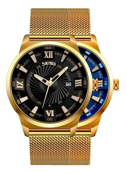 Reloj Skmei Cuarzo 9166 Clásico Acero Inoxidable Calendario