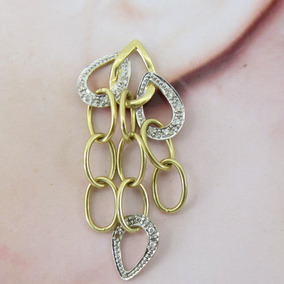 8903 Brinco Comprido De Ouro 18k 750 Com Diamantes