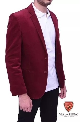 Blazer Slim Fit Cotelê Cor Bordô