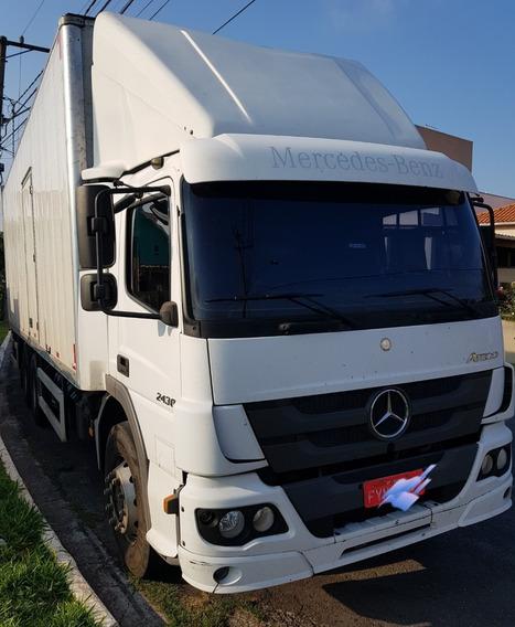 Mercedez Benz Atego 2430 Branco Bau Com Plataforma Elevatori