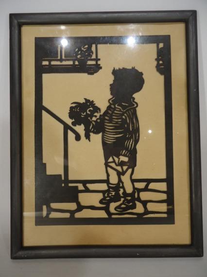 C182 Niño Con Flores - Sombra Papel Calado 32x25cm