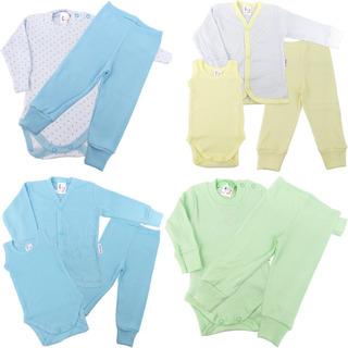 Roupa De Bebê Menino Kit 4 Conjuntos Calça Body Casaco 10pcs