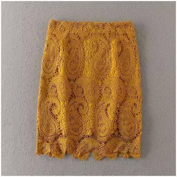 Saia Bandage Lápis De Renda Cor Branca Amarela Importada