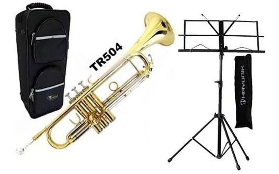 Kit Completo Trompete Laqueado Tr504 Eagle Envio Ja