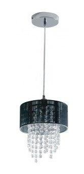 Lustre Pendete Mini Diamond Cristal Redondo 1 Lampada Preto