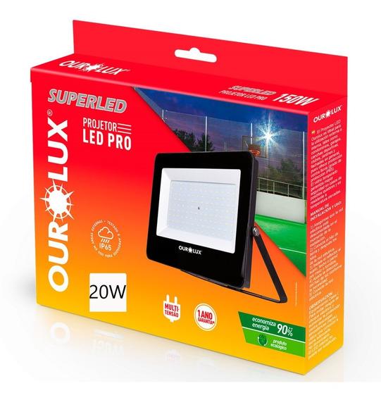 Refletor Superled Projetor Pro Slim 20w Ourolux 6500k Luz Br