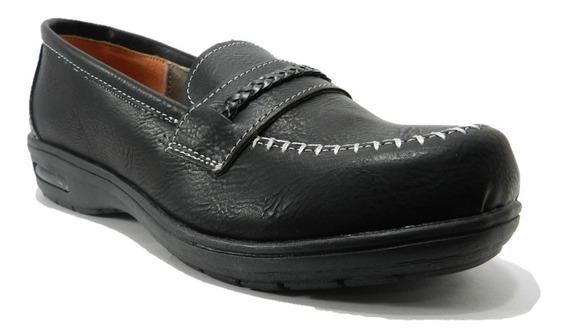 Zapato Mocasin De Mujer Caribe Sintético Negro 4807