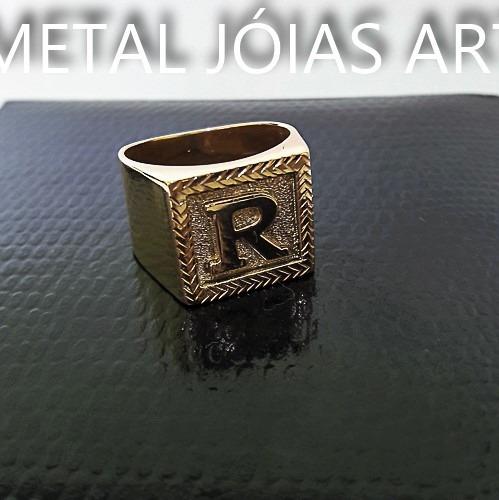 Anel Letra Quadrado12gr Foto Real Ouro 18k Nota Fiscal