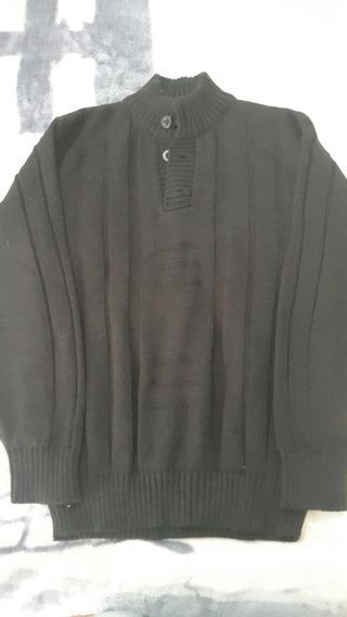 Sweater Buzo Lana Negro Con Botones Tejido Talle 14