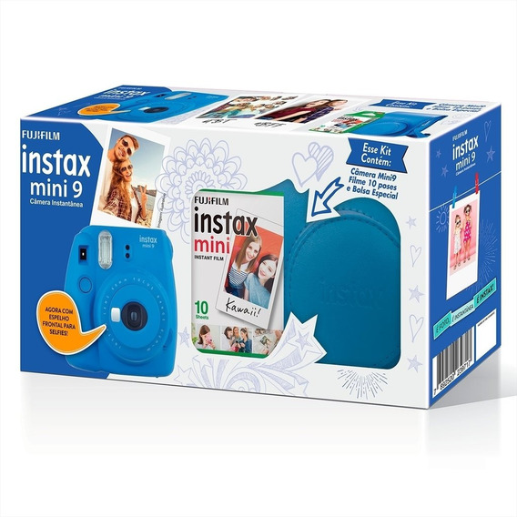 Máquina Fotográfica Fujifilm Kit Mini 9 Filme E Bolsa Instax