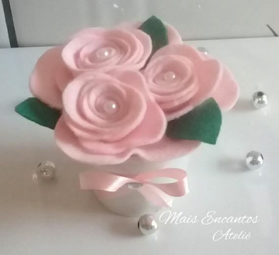 Centro De Mesa Flor Em Feltro Casamento 10 Unidades