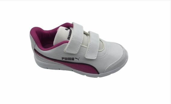 Tênis Puma Stepfleex Run Sl (inf) Nº 28 Branco/roxo Original