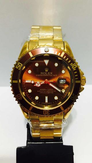 Relógio Submariner Gold Marrom