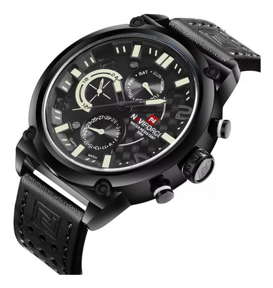 Relógio Masculino Naviforce Quartzo Aço 9068 Original