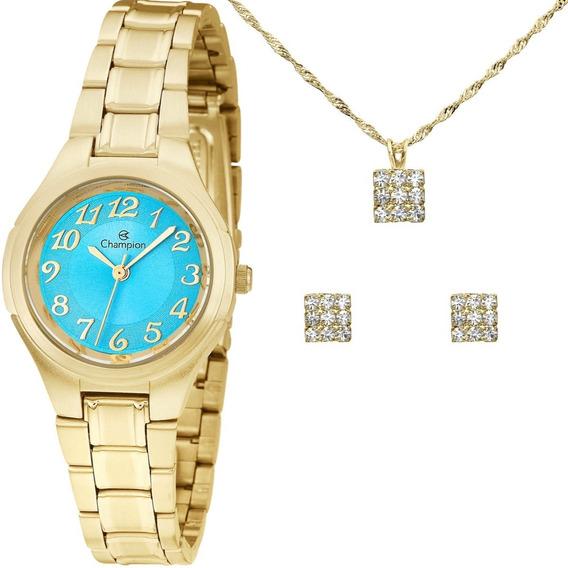 Relógio Feminino Kit Champion Dourado Pequeno Ch24928y