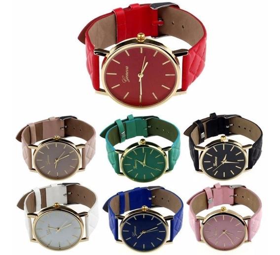 Kit 10 Relógios Feminino Geneva Preço Atacado Dourado Barato