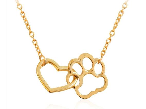 Corrente Dourada Pegada Conectada Coração Pet Cão Cachorro
