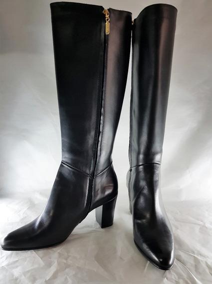 Bota De Cuero Negra Caña Alta Prune Modelo Avril Zapato Muje