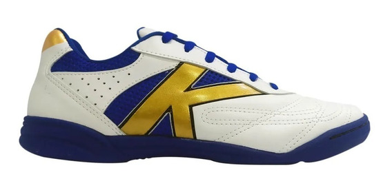 Tênis Futsal Kelme Skill Branco/azul/dourado- Original