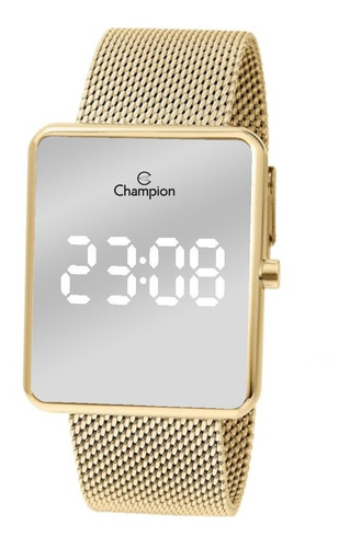 Imagem 1 de 8 de Relógio Champion Dourado Espelhado Ch40080b Led Branco