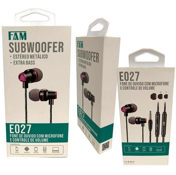 Fone De Ouvido Fam Microfone Extrabass Estéreo Metálico E027