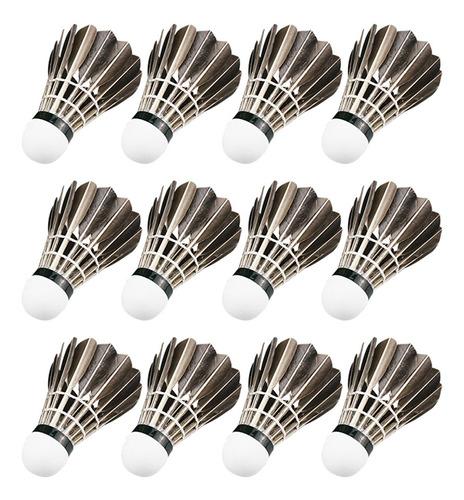 12 Pçs/set Badminton Shuttlecocks Prático Pena De Ganso