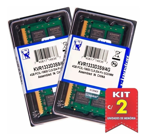 Kit Com 2 Memórias Kingston Ddr3l 4gb 1333 Mhz Notebook