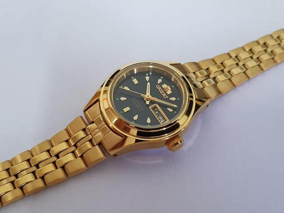 Relógio Feminino Orient Plaque Ouro Automático Fnq0400bb9