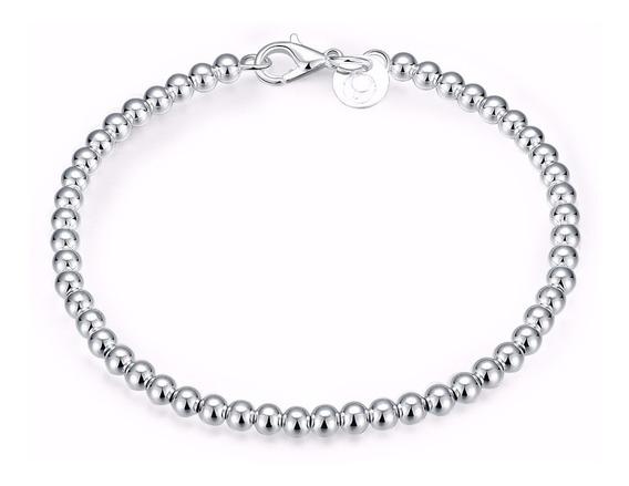 Pulseiras Femininas Bolinhas Em Prata 925 Semi Jóia