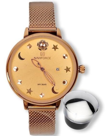 Relógio Feminino Naviforce Luxo Importado Malha + Brinde