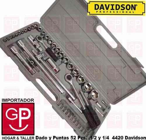 Imagen 1 de 5 de Juego De Dados 52 Pz.  1/4 Y 1/2  Mm  Davidson G P