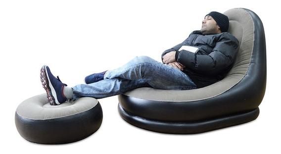 Poltrona Inflável Praia Sítio Lounge Com Descanso Para Pés