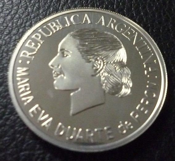 Moneda 1 Peso Argentina 2002 Evita De Plata Con Certificado