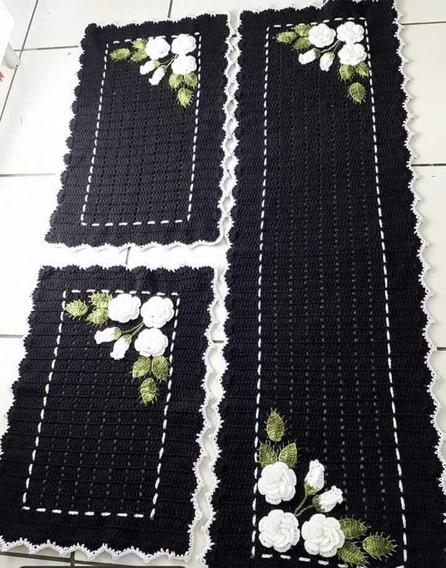 Jogos De Tapetes Para Cozinha Em Crochê 3 Peças- Cz01