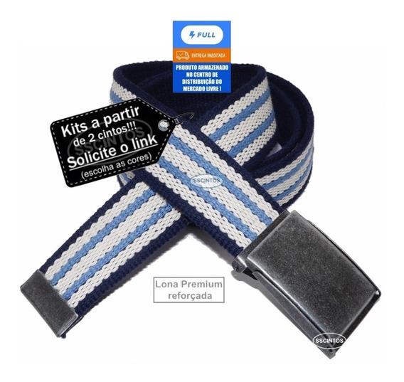Cinto Masculino Lona Premium Dupla Face 4cm L40df Az Full