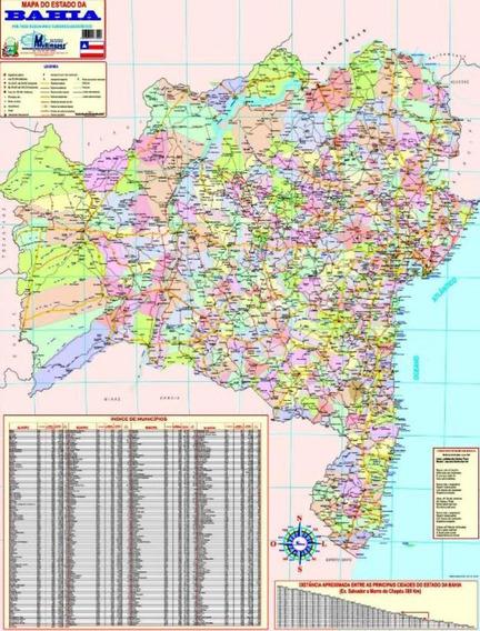 Mapa Do Estado Da Bahia -político -89 X 117 Cm -frete Grátis