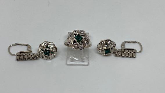Anillo Y Aretes En Paladio Con Esmeraldas Y Diamantes