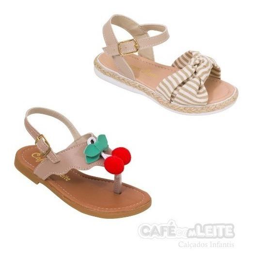 (combo Com 2 Pares )sandálias Infantil Menina Feminina