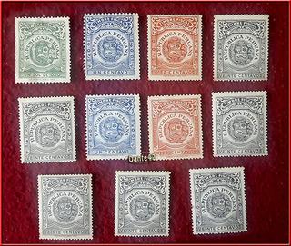 Dante42 Lote 11 Estampillas Peru Timbre Fiscal Antigua