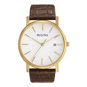 Relogio Bulova 97b100 Classico Dourado Couro Slim 37 Mm