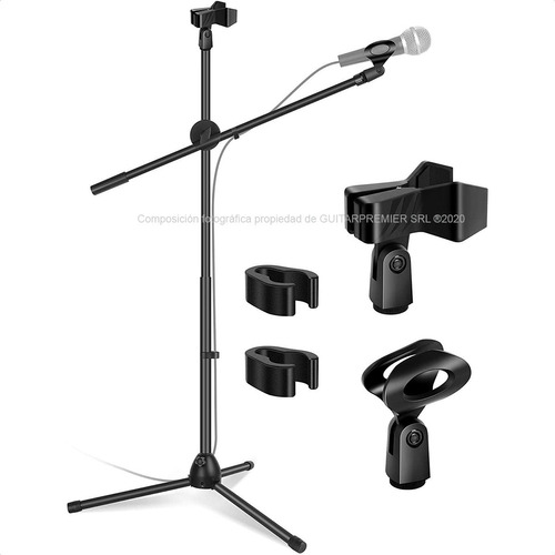 Pie De Microfono Doble Pipeta Plegable Profesional Boom