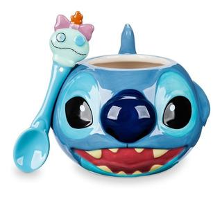 Juego De Taza & Cuchara Stitch 12 Oz Nueva Disney Store