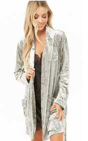 Bata De Terciopelo Velvet Gris Pijama Forever 21 Moda