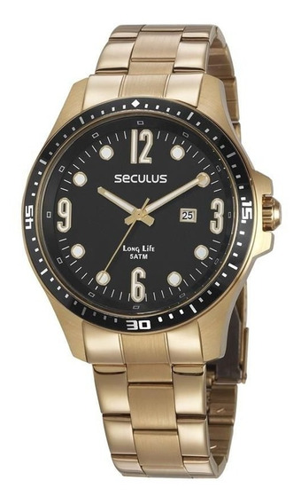 Relógio Seculus Dourado Masculino 28963gpsvda1