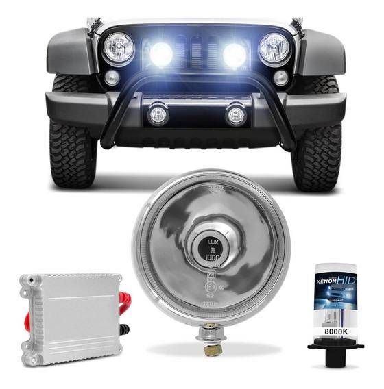 Farol Milha Redondo Jeep Caminhão Cromado Oscar + Xenon H4