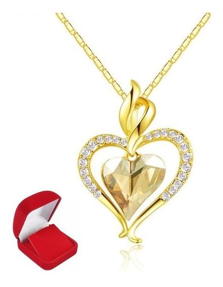 Colar Com Coração Presente Namorada Folheado Ouro Com Pedras