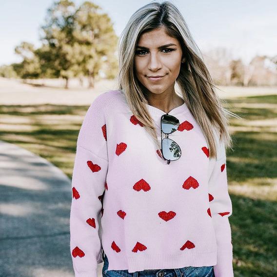 Moda Feminina Solta De Malha Pulôver Camisola Corações Longo